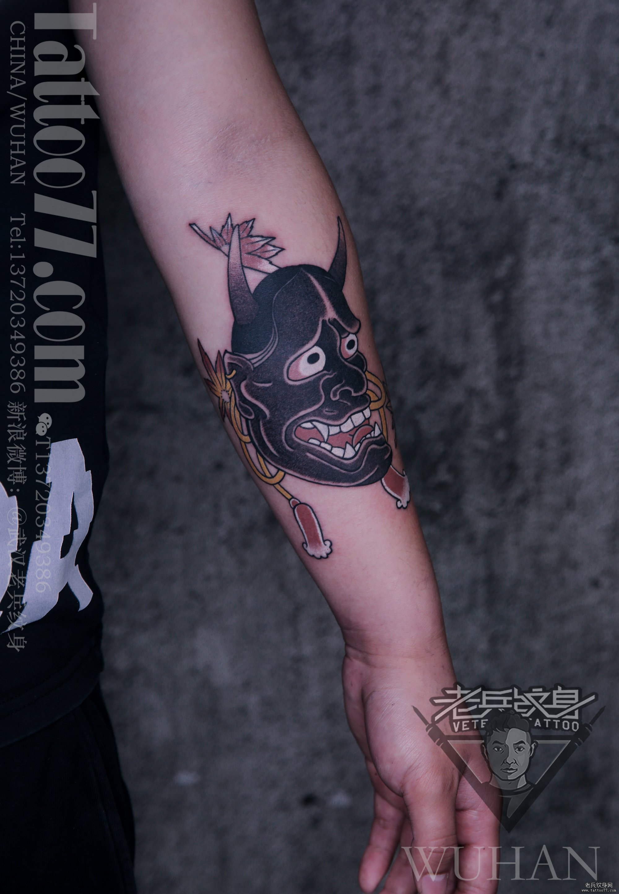 小臂彩色般若纹身作品