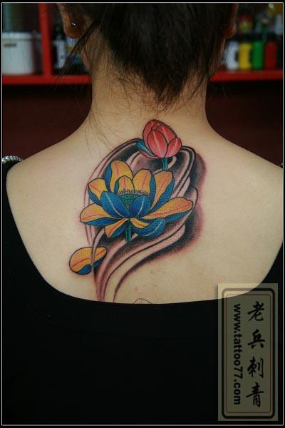 传统荷花纹身