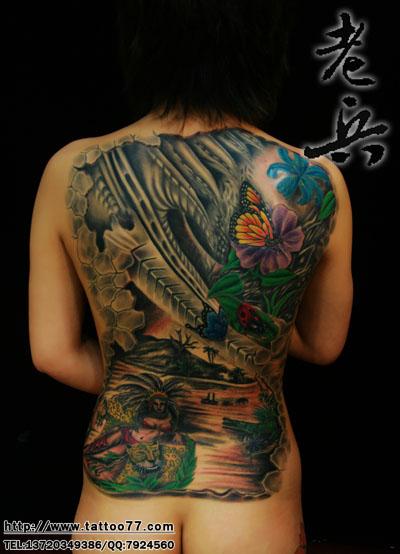 美女的满背欧美纹身恢复后效果图片