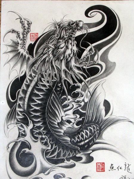 一款经典的鳌鱼纹身图案图片(鱼化龙纹身)