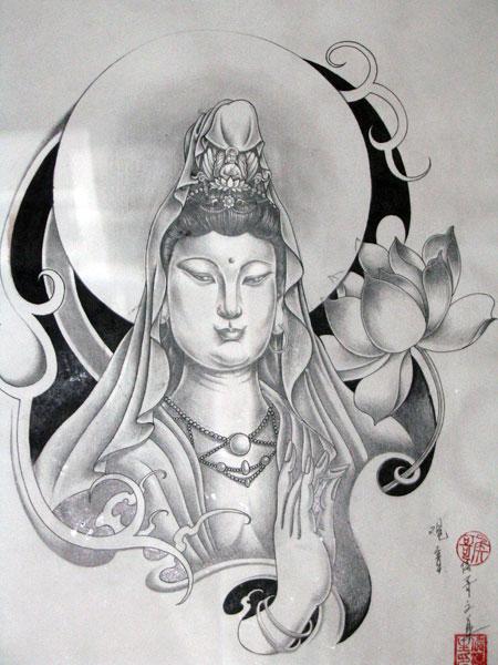 背的莲花观音菩萨佛纹身