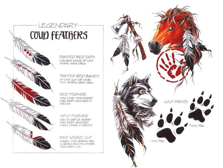 羽毛狼马头手掌印纹身图案图片合集
