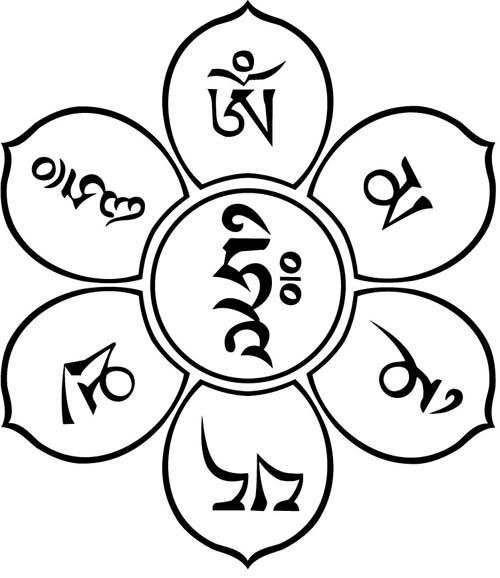 莲花盘藏文六字真言纹身图案