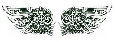 机械翅膀纹身图案