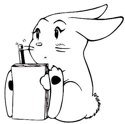 动物简笔画大全; 一款可爱的卡通兔子纹身图案图片