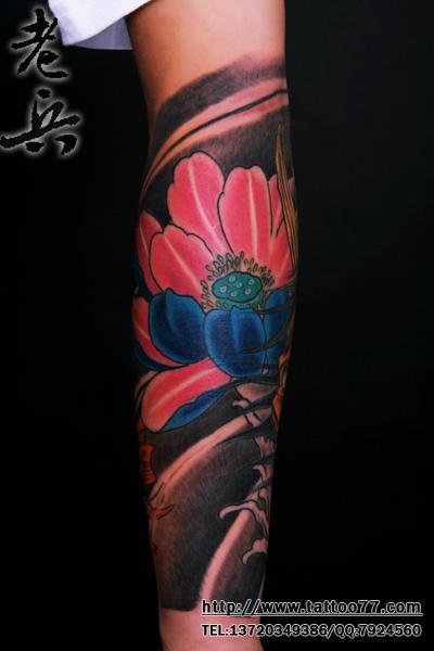 小花臂--般若莲花纹身