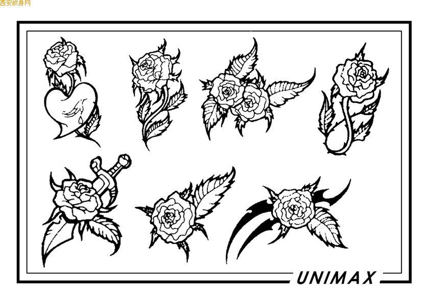 玫瑰爱心纹身图案
