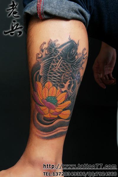 荷花鲤鱼纹身小图分享展示