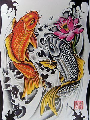 满背鱼纹身图案