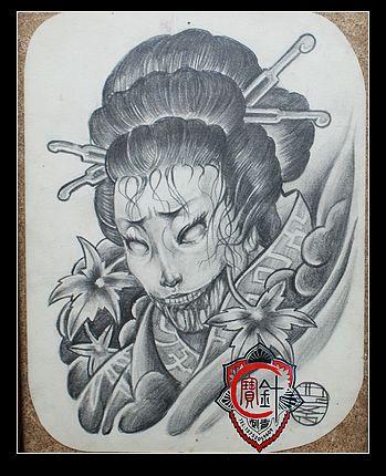 天津宝针纹身部分纹身手稿;; 【纹身素材】日本艺伎; 天津纹身吧_百度