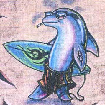 可爱的彩色海豚纹身图案图片(tattoo)