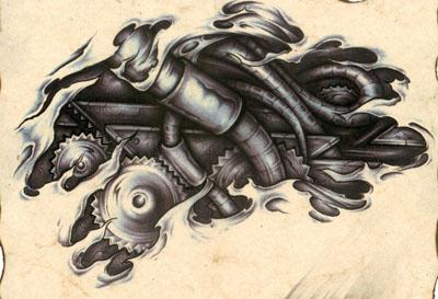 欧美机械纹身图案图片(tattoo)