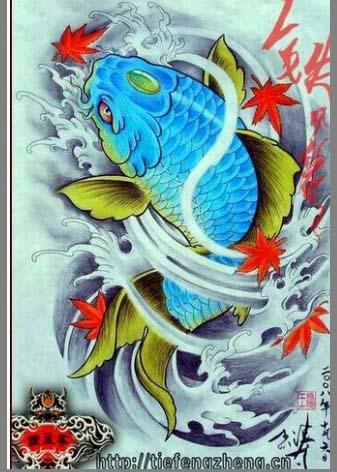 传统浪花鲤鱼纹身图案图片(tattoo)