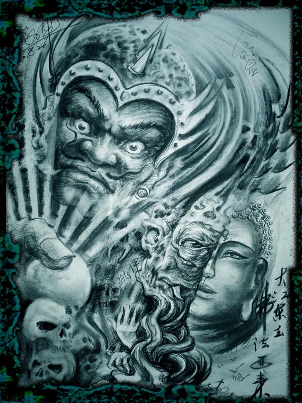 一款魔与佛适合满背的纹身图案图片(tattoo)