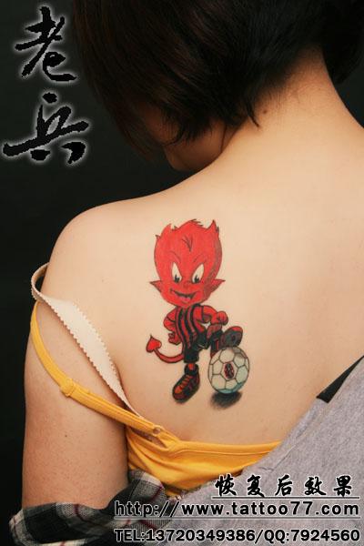 武汉纹身店:小恶魔纹身恢复后效果