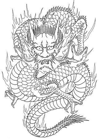 武昌满背龙割线纹身图片