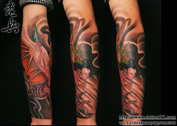 武漢紋身:花臂神獸紋身(tattoo)圖案作品—彩色作品—紋身作品大全—圖片