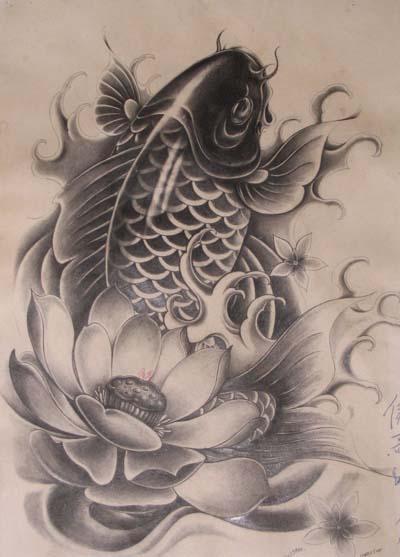 漂亮的鲤鱼莲花纹身图片