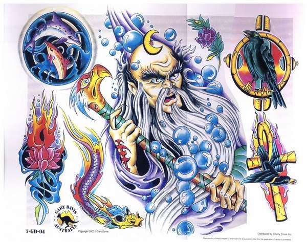 彩色纹身图片大全:海神乌鸦十字架海豚莲花龙纹身图案;; 彩色纹身图片图片