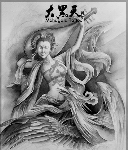 敦煌飞天凤凰纹身图案