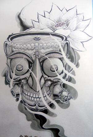 超酷的嘎巴拉纹身图案