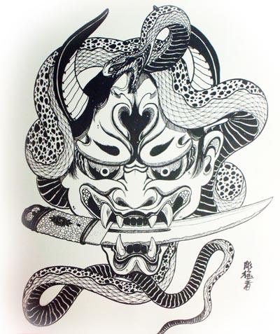 蛇般若纹身图