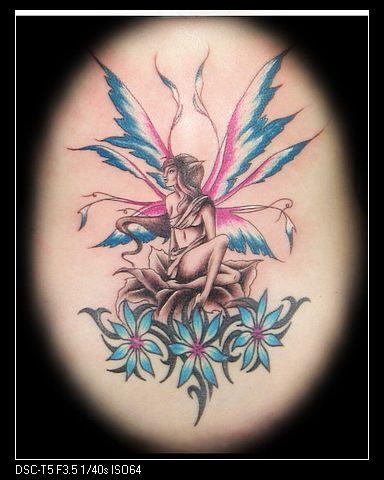 美女纹身图案大全—蝴蝶精灵纹身图案