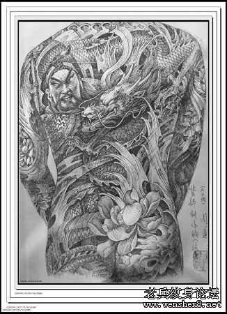 纹身图案大全之经典满背关公纹身图案图片