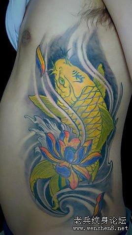 时尚经典鲤鱼纹身图案