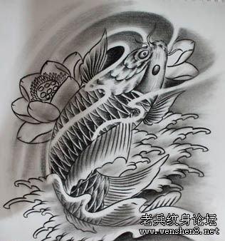 纹身图案:经典时尚鲤鱼纹身图案