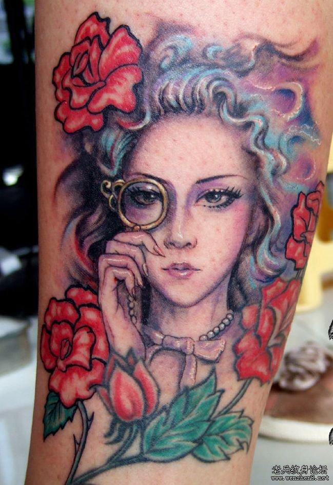 女性纹身图案:超酷的美女肖像纹身图案图片图片