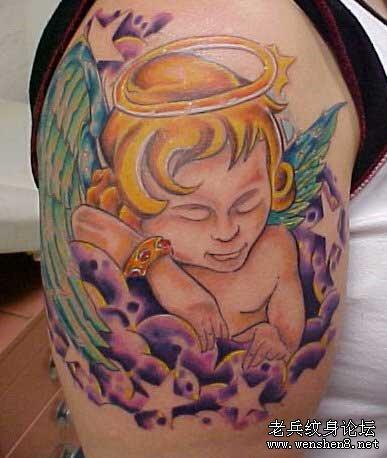 手臂纹身图案大全:手臂天使丘比特纹身图案图片高清图片