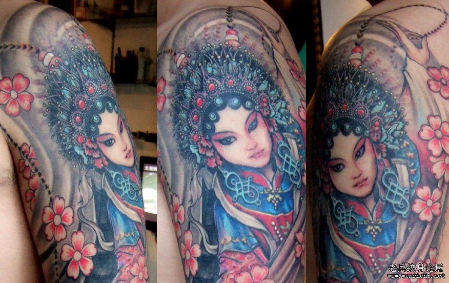 手臂纹身图案大全:超酷的手臂花旦纹身图案图片