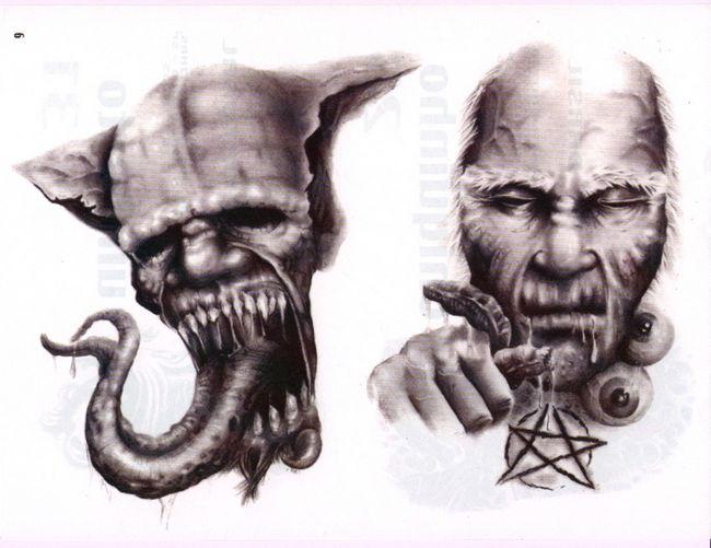 超酷超赞的欧美恶魔纹身图案图片鬼头纹身图案大全