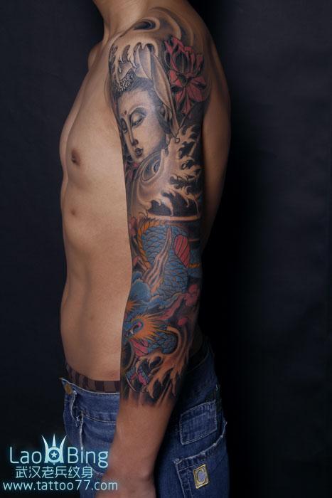 武汉纹身店:花臂观音龙纹身图案作品