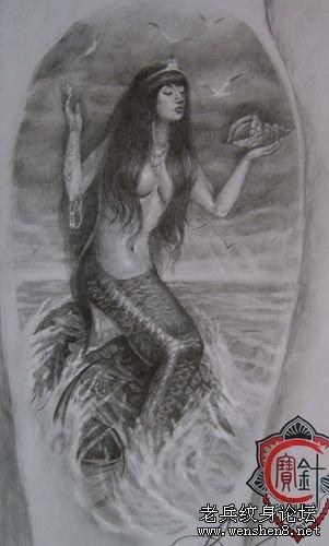 美人鱼纹身图案纹身图片 武汉专业刺青店为你提供