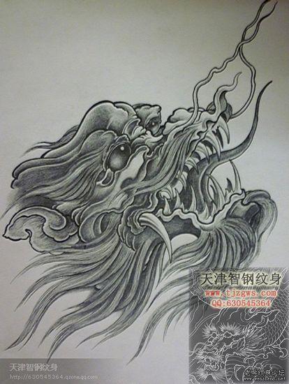 龙纹身图案大全:龙头纹身图案纹身图片