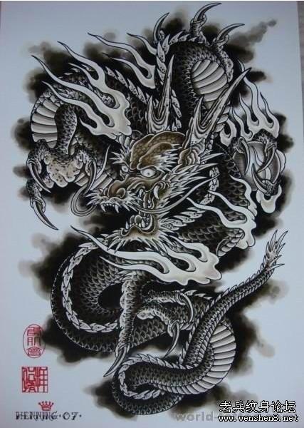 满背龙纹身图案大全-武汉纹身为你提供一款满背龙纹身图案纹身图片图片