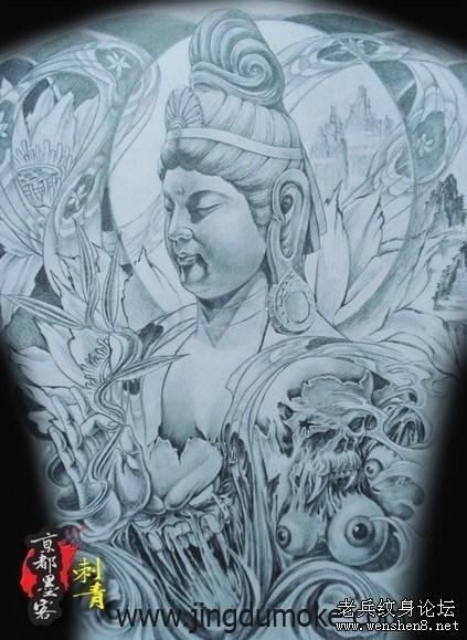 满背观音纹身图案大全-武汉最专业纹身为你提供一款满背观音纹身图图片