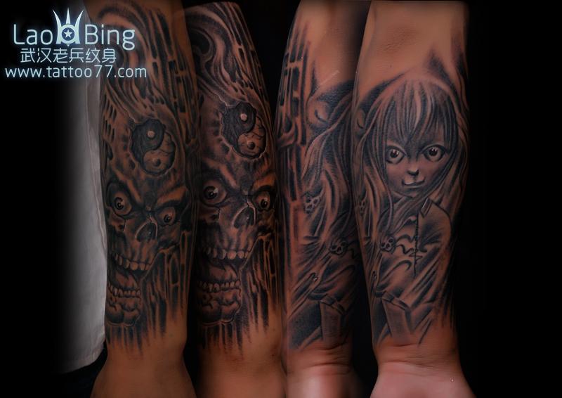 包臂骷髅鬼娃娃纹身图案作品