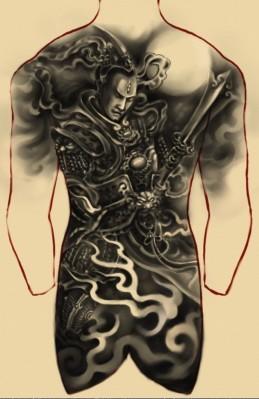 满背二郎神杨戬纹身图案大全