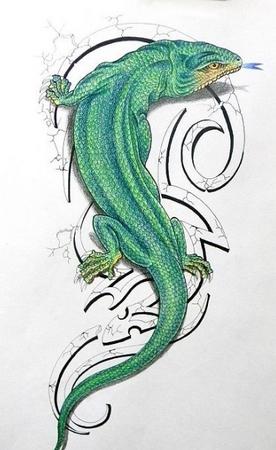 矢量蜥蜴纹身矢量素材(编号:2