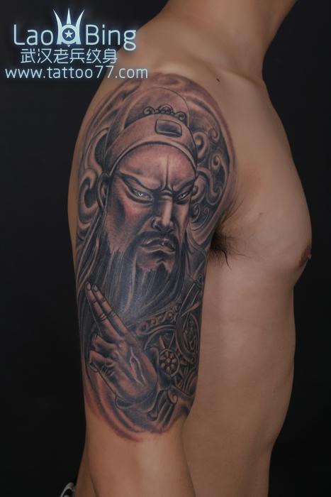 武汉专业纹身店:霸气的大臂关公纹身图案作品