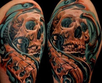 手臂欧美3d彩色骷髅纹身图案纹身图片