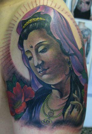 手臂彩色观音牡丹花纹身图案纹身图片