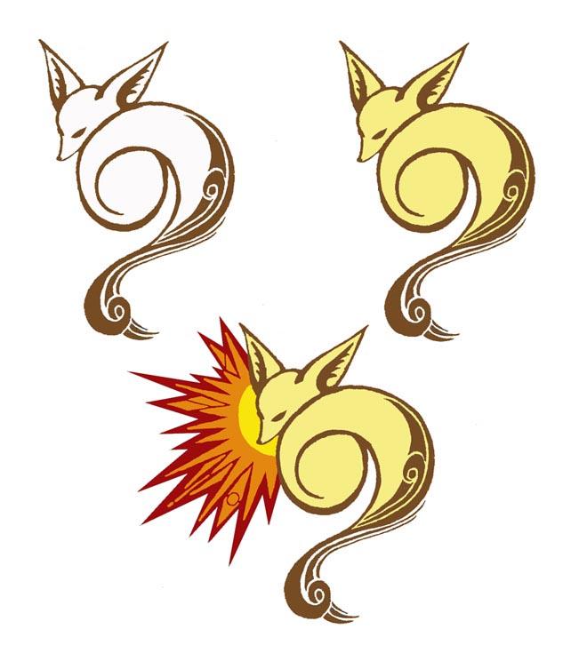 狐狸文身图案:图腾狐狸纹身图案图片