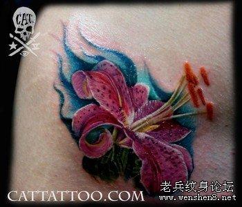 彩色百合花纹身图案大全图片