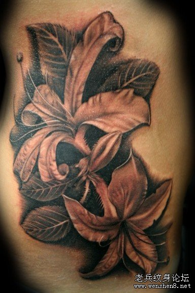 一款侧腰百合花纹身图案纹身图片