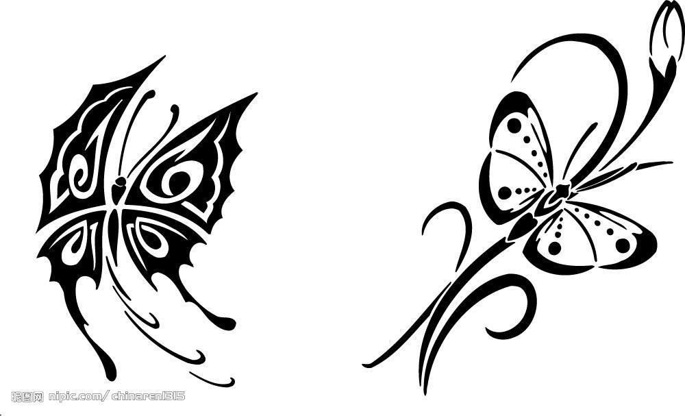 湖北仙桃纹身店:图腾蝴蝶纹身图案图片