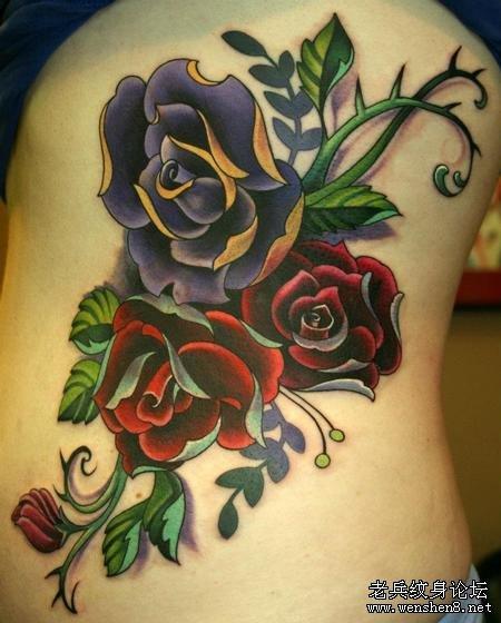 彩色玫瑰纹身图案大全图片
